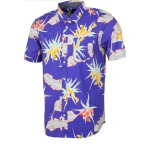 Purple Tropical Printed Short Sleeve Button Down